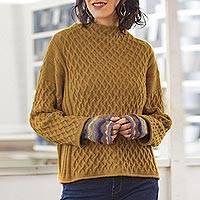 100% alpaca sweater, 'Antique Gold Trellis' - Women's Antique Gold 100% Alpaca Sweater