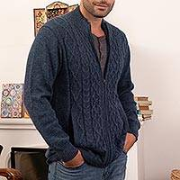 Men's 100% alpaca zipper cardigan, 'Cozy Prussian Blue' - Prussian Blue Alpaca Cable Knit Zip Front Men's Cardigan