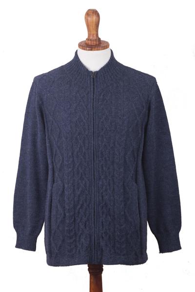 Men's 100% alpaca zipper cardigan, 'Cozy Prussian Blue' - Prussian Blue Alpaca Cable Knit Zip Front Men's Cardigan