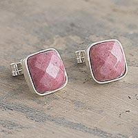 Rhodonite stud earrings, 'Equanimity' - Square Andean Rhodonite Stud Earrings
