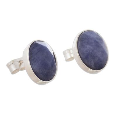 Oval Sodalite Stud Earrings