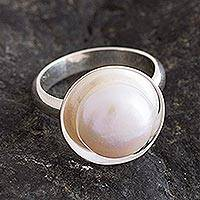 Cultured pearl cocktail ring, 'Quintessential' - Cocktail Ring with White Cultured Pearl