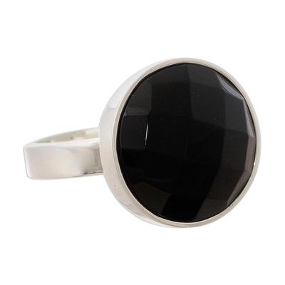 Onyx cocktail ring, 'Ritual' - Black Onyx Single Stone Ring