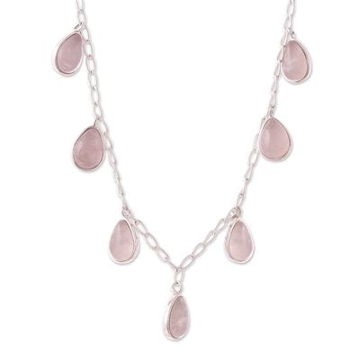 Rose quartz pendant necklace, 'Poem' - Natural Rose Quartz Pendant Necklace