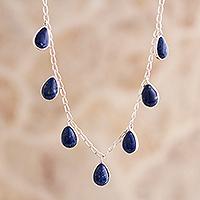 Lapis lazuli pendant necklace, 'Poem' - Sterling Silver and Lapis Lazuli Necklace