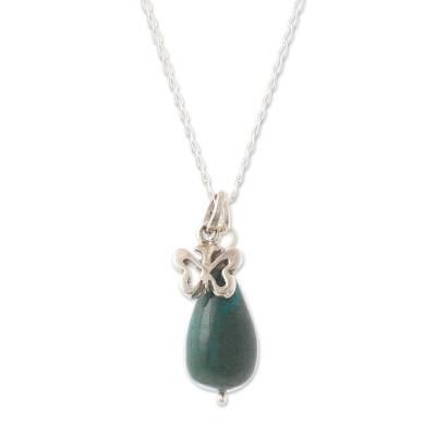 Chrysocolla pendant necklace, 'Butterflies Are Free' - Artisan Crafted Chrysocolla Pendant Necklace