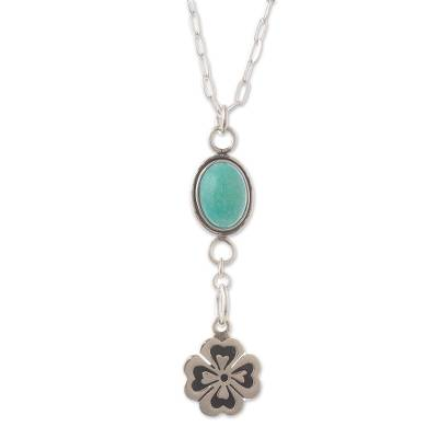 Amazonite pendant necklace, 'Lucky You' - Four Leaf Clover Amazonite Necklace