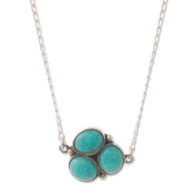 Natural Amazonite and Sterling Silver Necklace