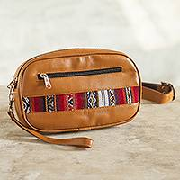 Wool-accented leather belt bag, 'Adventure in Style' - Saddle Brown Belt Bag and Wristlet from Peru