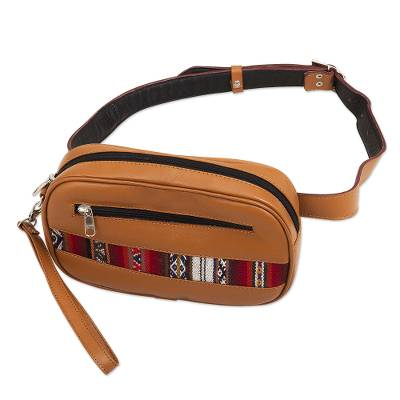 Saddle Brown Belt Bag and Wristlet from Peru