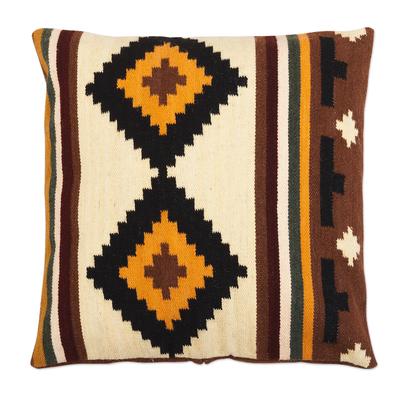 Geometric Earth Tone Wool Cushion Cover