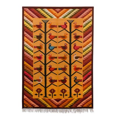 Bird Motif Wool Tapestry from Peru