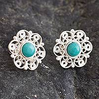Amazonite filigree button earrings, 'Eternal Hope' - Filigree Button Earrings with Amazonite