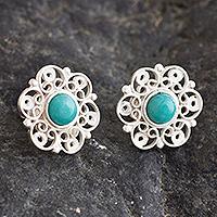 Amazonite filigree button earrings, 'Eternal Hope'