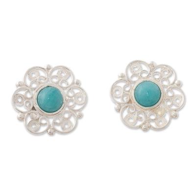 Amazonite filigree button earrings, 'Eternal Hope' - Filigree Button Earrings with Amazonite