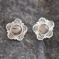 Opal filigree button earrings, 'Eternal Optimism' - Andean Opal Filigree Earrings