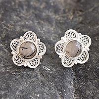 Opal filigree button earrings, 'Eternal Optimism'