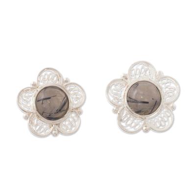 Opal filigree button earrings, 'Eternal Optimism' - Andean Opal Filigree Earrings
