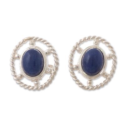 Sodalite button earrings, 'Eternal Calm' - Oval Button Earrings with Sodalite