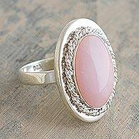 Opal cocktail ring, 'Cachet' - Pink Opal and Sterling Silver Cocktail Ring
