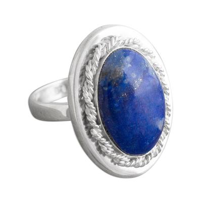 Lapis lazuli cocktail ring, 'Cachet' - Artisan Crafted Lapis Lazuli Ring