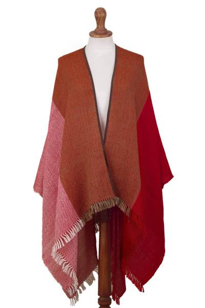 Red and Brown Suede Trimmed Baby Alpaca Ruana from Peru
