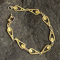 Gold-plated filigree link bracelet, 'Spiral Teardrops' - Gold-Plated Sterling Silver Filigree Link Bracelet