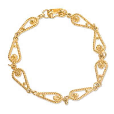 Gold-plated filigree link bracelet, 'Spiral Teardrops' - Gold-Plated Sterling Silver Filigree Link Bracelet