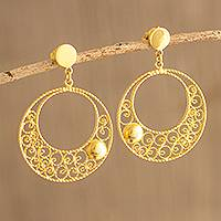 Gold-plated filigree dangle earrings, 'Dreamy Circles' - Peruvian Gold Plated Sterling Silver Dangle Earrings