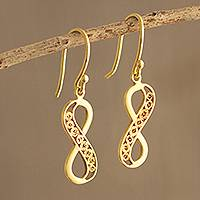Gold-plated filigree dangle earrings, 'Elegant Infinity' - Peruvian Gold-Plated Filigree Infinity Symbol Earrings