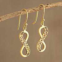 Gold-plated filigree dangle earrings, 'Elegant Infinity' - Peruvian Gold-Plated Filigree Infinity Symbol Earrings