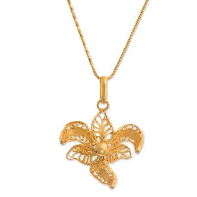 Gold-plated filigree pendant necklace, 'Graceful Orchid' - Peruvian Filigree Gold-Plated Orchid Pendant Necklace