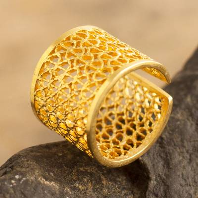 Gold-plated filigree band ring, 'Royal Swirl' - Wide Peruvian Gold-Plated Filigree Band Ring