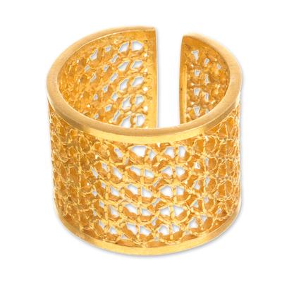 Gold-plated filigree band ring, 'Royal Swirl' - Wide Peruvian Gold-Plated Filigree Band Ring