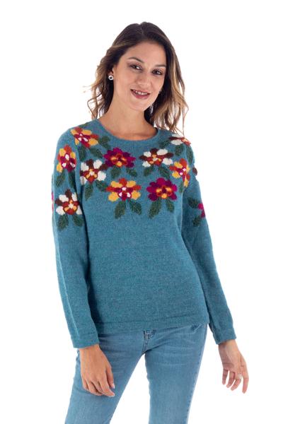 100% alpaca intarsia knit sweater, 'Turquoise Garden' - Intarsia Knit Turquoise Floral Alpaca Sweater