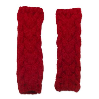 Andean Alpaca Blend Hand Knit Red Fingerless Mittens