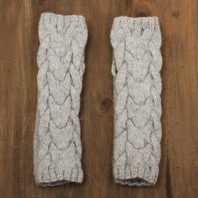 Alpaca blend fingerless mittens, 'Cozy Dove Grey' - Andean Alpaca Blend Hand Knit Light Grey Fingerless Mittens