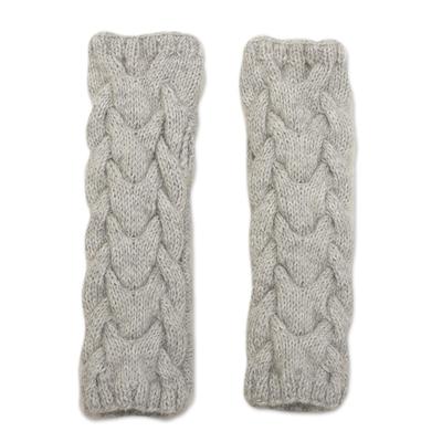 Alpaca blend fingerless mittens, 'Cozy Dove Grey' - Andean Alpaca Blend Hand Knit Light Grey Fingerless Mittens