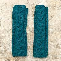 Alpaca blend fingerless mittens, 'Turquoise Teal Braid' - Andean Alpaca Blend Hand Knit Turquoise Fingerless Mittens