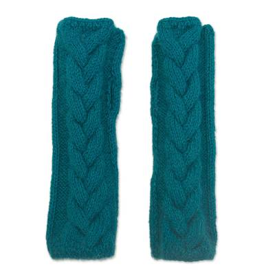 Alpaca blend fingerless mittens, 'Turquoise Teal Braid' - Andean Alpaca Blend Hand Knit Turquoise Fingerless Mittens