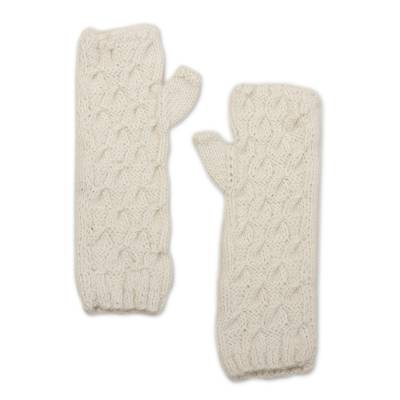 Alpaca blend mitts, 'Warm White Currents' - Long Hand Knit Warm White Fingerless Mitts