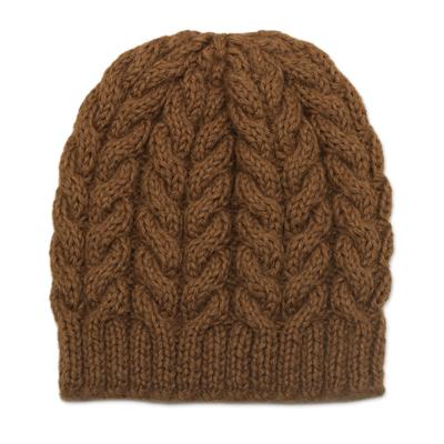 Alpaca blend knit hat, 'Sepia Cables' - Hand Knit Brown Alpaca Blend Hat