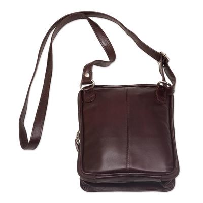 Dark Brown Leather Shoulder Bag