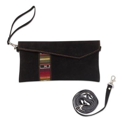 Textile-Accented Black Suede Shoulder Bag