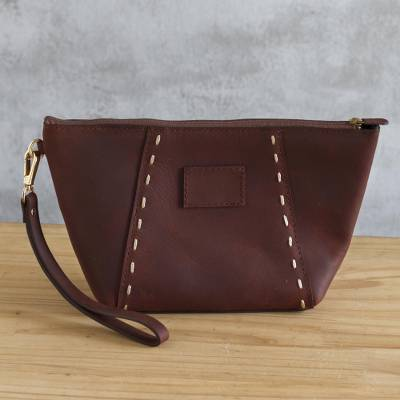 Leather wristlet, 'Top Notch' - Full-Grain Leather Wristlet from Peru