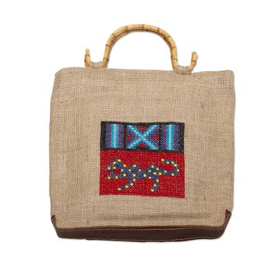 Handmade Jute Tote Bag with Bamboo Handles