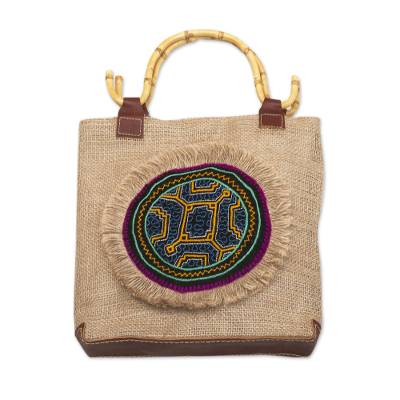 Embellished Jute Tote Bag with Leather Trim