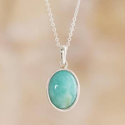 Opal pendant necklace, 'Naturally Beautiful' - Natural Andean Opal Pendant Necklace