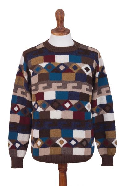 Men's 100% alpaca intarsia knit sweater, 'Adventure Geometry' - Geometric Intarsia Knit 100% Alpaca Men's Sweater