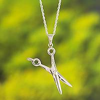 Sterling silver pendant necklace, 'Exceptional Beauty' - Sterling Silver Scissors Pendant Necklace